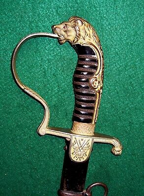 Imperial German Lion Head Officers Sword With Scabbard