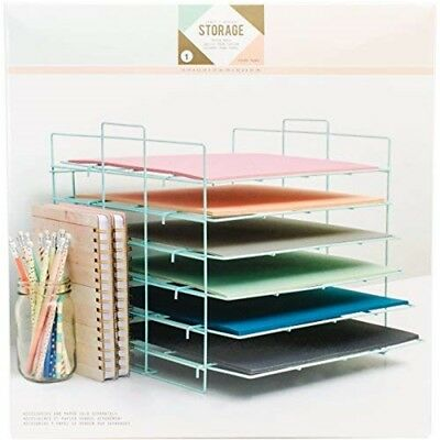 Paper Rack 6 Shelf - American Crafts Crate Desktop Storage Collapsible Wire Fr