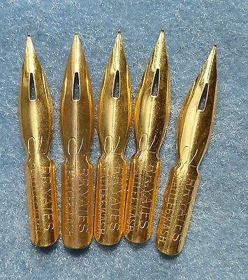 5 Vintage NOS RR Yates #70 Gold Plated Calligraphy Dip Pen Nibs