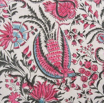 """Hand Block Printed, Cotton Fabric. 2.5 Yards, 42"""" Wide. Birds of Paradise Rose"""