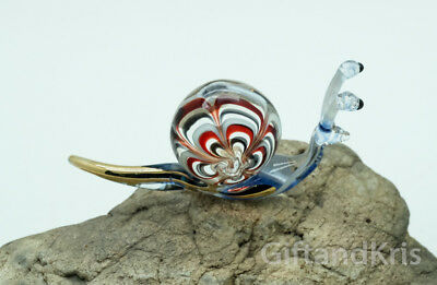 Figurine Hand Blown Glass Snail Reptile No Painted w/ Painted Gold Trim - 001