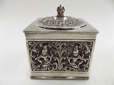 Antique Indian Silver Tea Caddy / Embossed Images / T R Tawker & Sons  Ref 120/1