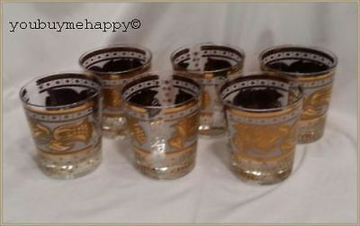 Fred Press Mid Century Barware Set Of 6 Gold And White Fl Low Ball Gles