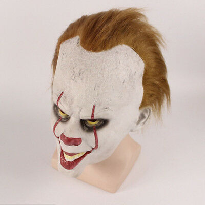 Erwachsen Stephen King's It Clown Pennywise Maske Halloween Scary Cosplay Kostüm