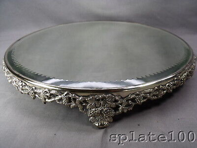 """Large 15"""" Vanity Or Centerpiece Silver Plate Mirror Plateau Vintage Pat. Grapes"""