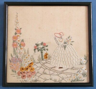 Vintage Hand Embroidered Linen Picture Panel Crinoline Lady Flowers Superb