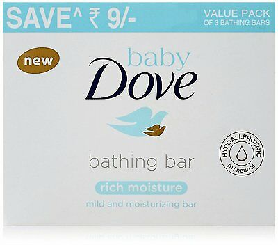 Baby Dove Rich Moisture Bathing Bar Soap 75 gram (Pack of 3) mild & moisturizing
