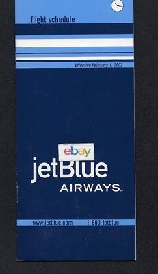 Jetblue Airways 2-1-2002 System Timetable Route Map New York Jfk Hub