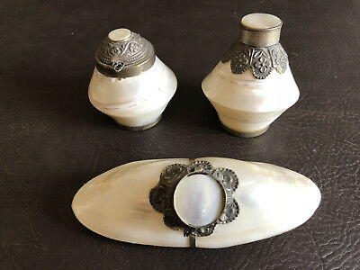 Rare Shell Pen Inkwells Desk Set Mother of Pearl Silver Abalone Ink Well Writing