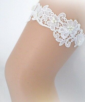 Light Ivory Lace Pearls wedding bridal garter
