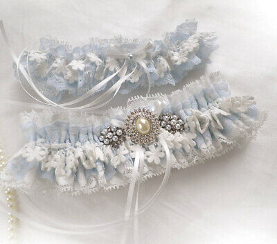 Personalized Garters Set Light Blue Ivory Lace Wedding Bridal Vintage Inspired