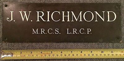 Rare Find Original Antique Bronze Plaque J.w. Richmond M.r.c.s. L.r.c.p.