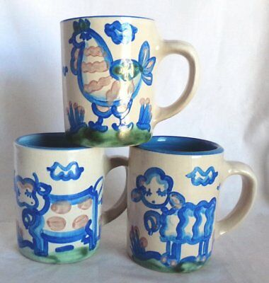 "(3) M.A. Hadley Country Scene 4"" 8 oz. Mugs Sheep, Cow, Rooster 'The End'"