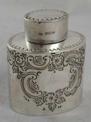 Lovely Antique Victorian Solid Sterling Silver Tea Caddy Atkin Bros 1892