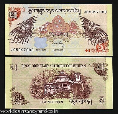 Bhutan 5 Ngultrum P28 2011 Dzong Dragon Unc World Currency Money Bill Bank Note