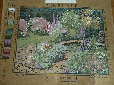 Vintage Penelope Garden Pond Printed Tapestry Canvas 35.5 * 45.5Cms  Mc108