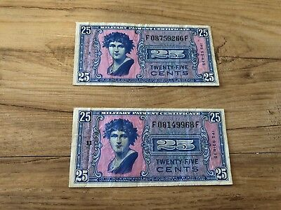 Lot of 2 Twenty Five Cents Series 541 US Military Payment Certificates