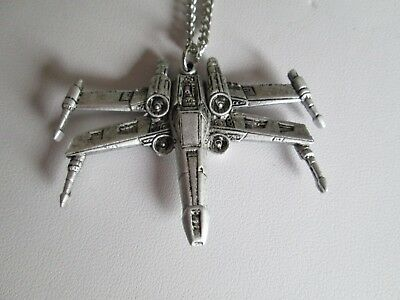 Vintage 1977 20Th Century Fox Star Wars X Wing Fighter Pendant On 18 Inch Chain
