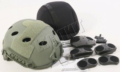 NEW Ops-Core FAST Carbon Helmet w/ Skeleton Shroud (L/XL) Foliage 59-99-652