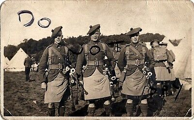 WW1 soldier group Pipers & bagpipes Unknown Regiment Black Watch ? Seaforths ?