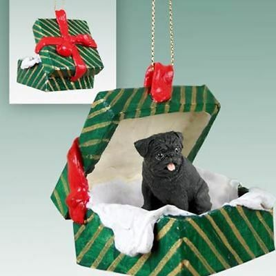 Pug Black Dog Green Gift Box Holiday Christmas ORNAMENT