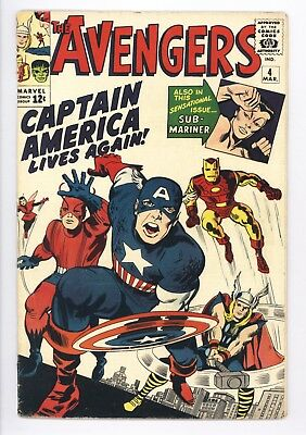 Avengers #4 Vol 1 Beautiful Higher Grade 1st App of Silver Age Captain America