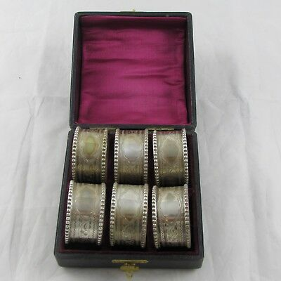 Superb Cased Set Six Solid Sterling Silver Napkin Rings William Devenport 1919