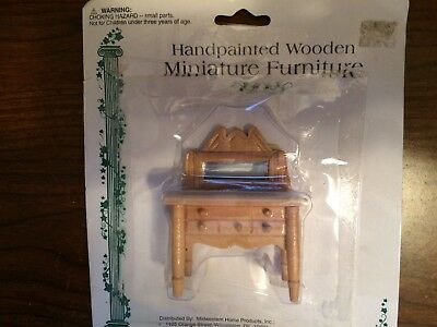 1/24 Vintage Wooden Dresser With Real Mirror Dollhouse Furniture Nos
