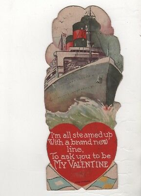 vintage Valentine Card I'm all Steamed up With a brand new line big Ship