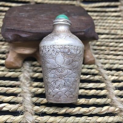 Antique Old Handwork Sterling Silver Lotus Seed Goldfish Chinese Snuff Bottle