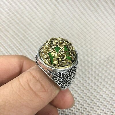 Rare Chinese Old Handwork Tibet Silver Peach Blossom Collectible Antique Ring