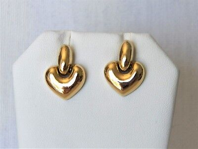 Outstanding Pair Of Vintage Yellow Gold Tone Heart Shaped Pierced Earrings