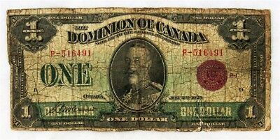1923 Dominion of Canada $1 Note - Low Grade - Red Seal McCavour/Saunders