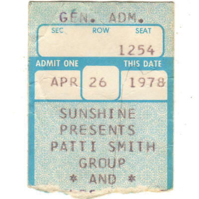 PATTI SMITH GROUP & ANDI OSTROWE Concert Ticket Stub LOUISVILLE 5/12/78 EASTER