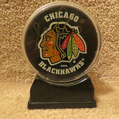 NHL Signed Chicago Blackhawks Hockey Puck in Display Case