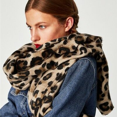 Leopard Printed Scarf Womens Winter Warm Cashmere Thicken Warps Shawls Scarves