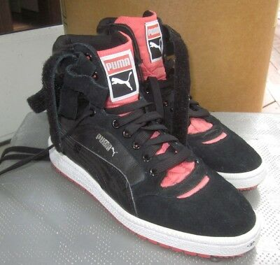 6b7764c775c PUMA CONTACT women s size 7 high-top athletic shoes Black Suede pink  highlights