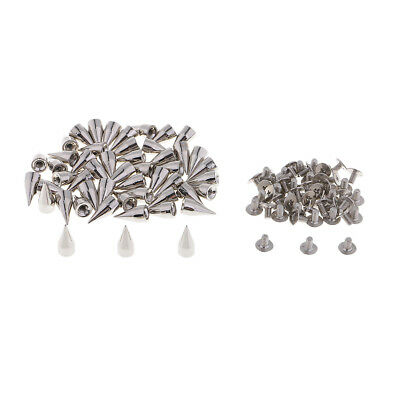 50 Sets 14mm Silver Cone Screw Metal Studs Leathercraft Rivets Bullet Spikes