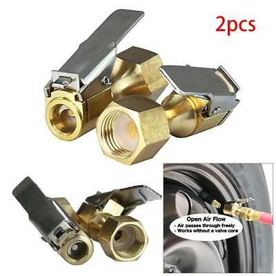 Good 2pcs Metal Tire Inflator Open Flow Straight Lock-On Air Chuck with Clip shu