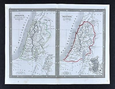1835 Monin Map - Roman Palestine & 12 Tribes - Judea Jerusalem Old Testament