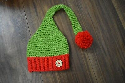 36784fb3e NEW CROCHET CHRISTMAS hat elf pixie long tail newborn baby ...