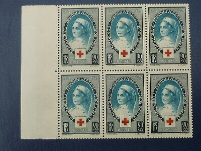 France 1939 90c+35c 75th Anniv of Red Cross block of 6 MINT never hinged SG 634