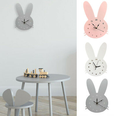 Nordic Cute Rabbit Wooden Mute Wall Clock Bedroom Kids Room Home Decoration