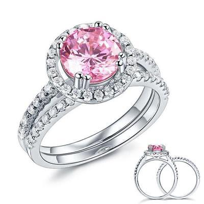 925 Sterling Silver Wedding Engagement Halo Ring Set 2 ct Pink Created Diamond