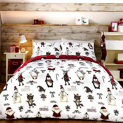 Fully Reversible Christmas Xmas Buddies Duvet Cover & Pillowcase Set - 4 x Sizes