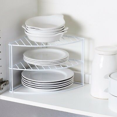White Steel 3 Tier Corner Kitchen Cupboard Plate Dish Stand Holder Storage Rack
