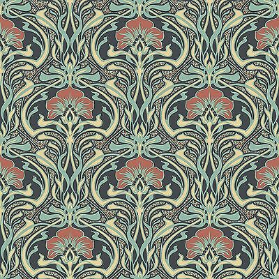 Archives Flora Nouveau Wallpaper Peacock Green - Crown M1196 Retro