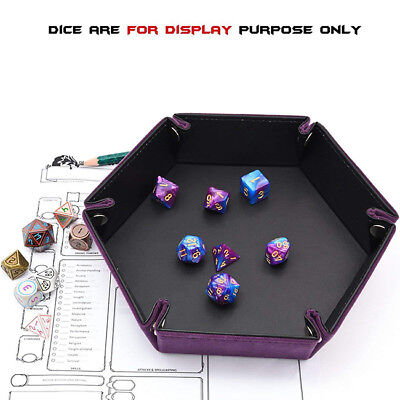 Funny Faux Leather Folding Hexagon Tray Purple Velvet for Dice Table Game LG
