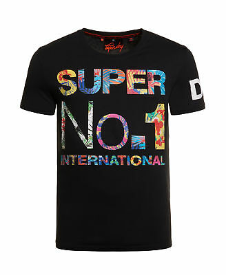 New Mens Superdry International No1 T-Shirt Black