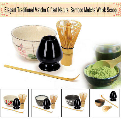 Japanese Ceremony Bamboo Matcha Green Tea Whisk Stand Holder Scoop Bowl Set